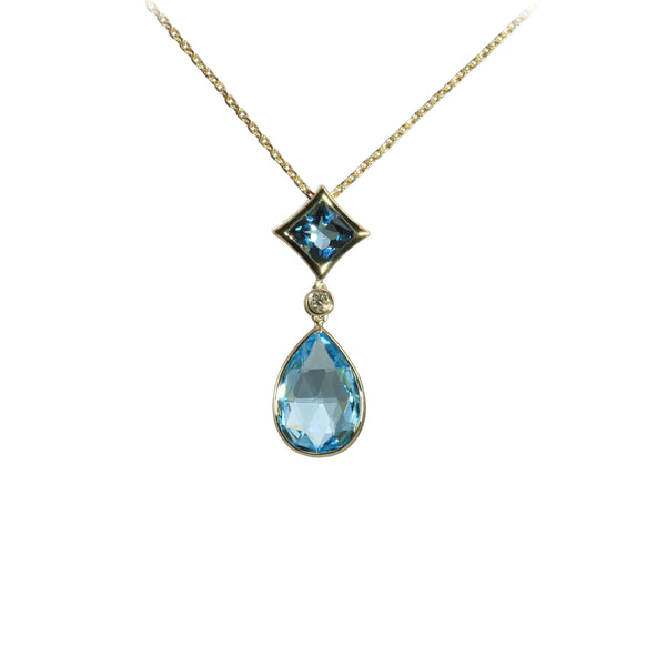 Swiss and London Blue Topaz Drop Necklace, 14K Yellow Gold