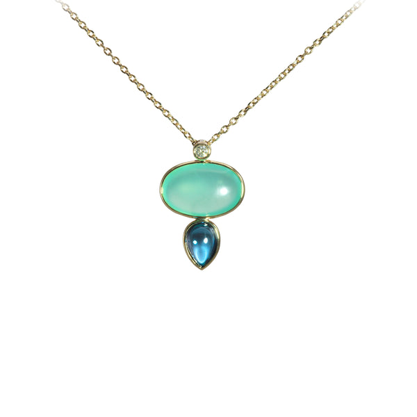 Chrysoprase and London Blue Topaz Drop Necklace, 14K Yellow Gold