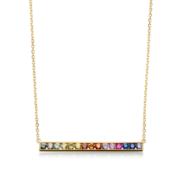 Multi Color Sapphire Rainbow Bar Necklace, 18K Yellow Gold