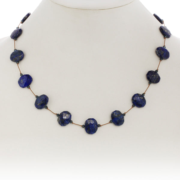 Blue Lapis and Swarovski Crystal Necklace, 17 Inches, Sterling Silver