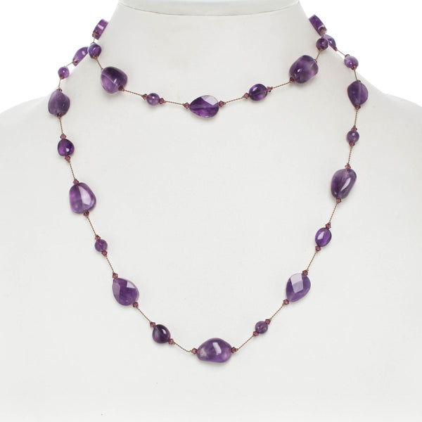 Amethyst and Swarovski Crystal Necklace, 35 Inches, Sterling Silver