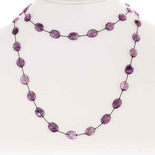 Flat Faceted Purple Amethyst Necklace, 35 Inches, Sterling Silver