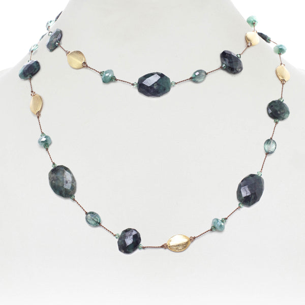 Green Moonstone and Emerald Necklace, 35 Inches, Sterling Silver