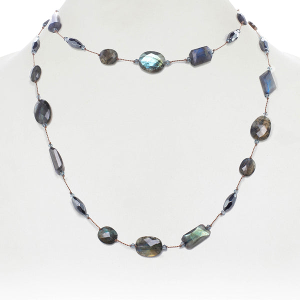 Labradorite and Hematite Necklace, 35 Inches, Sterling Silver
