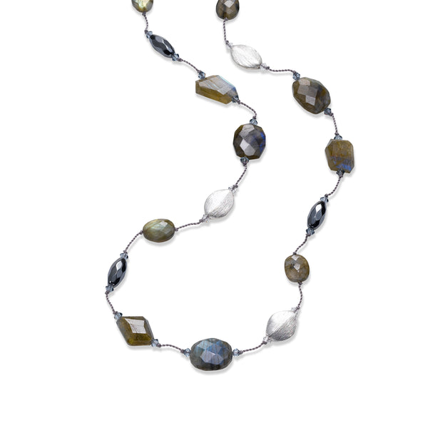 Labradorite, Hematite and Silver Bead Necklace, 35 Inches, Sterling Silver