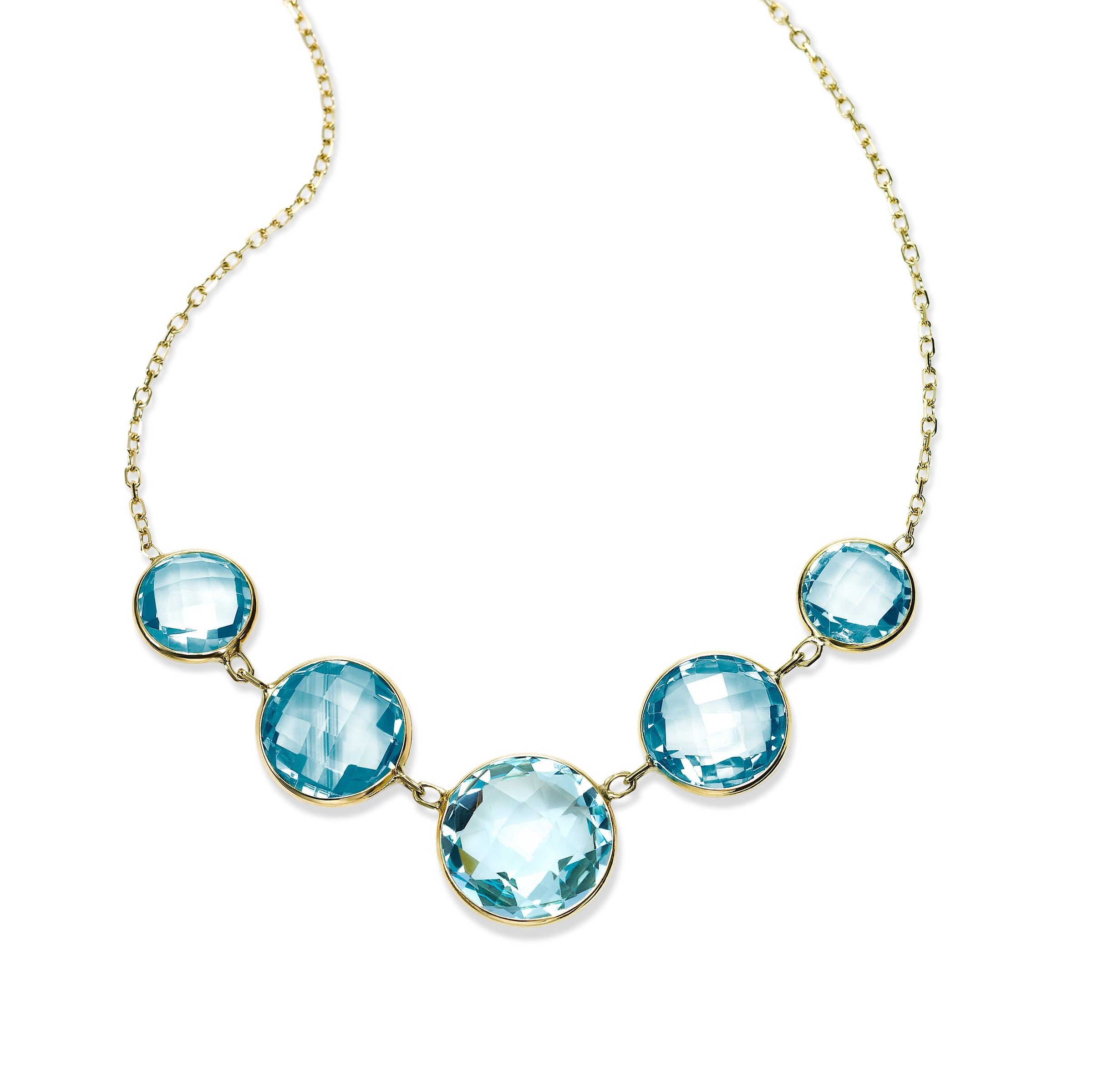 Bezel Set Graduated Blue Topaz Necklace, 14K Yellow Gold