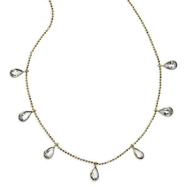 Pear Shaped CZ Drop Necklace, 18 Inches, 14K Yellow Gold