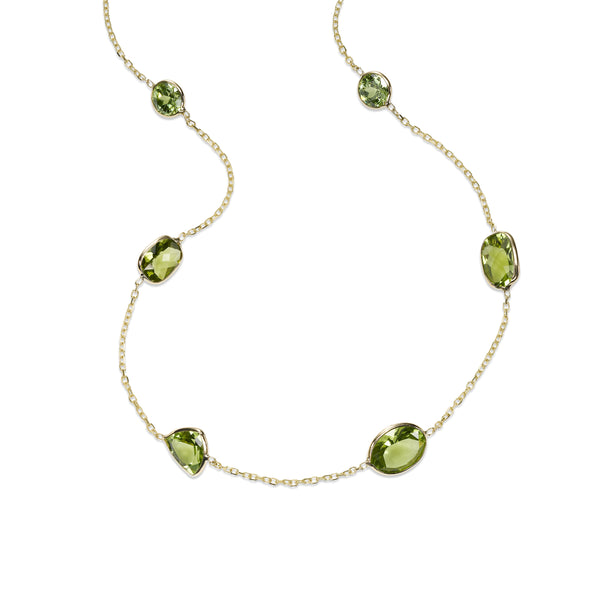 Bezel Set Peridot Station Necklace, 14K Yellow Gold