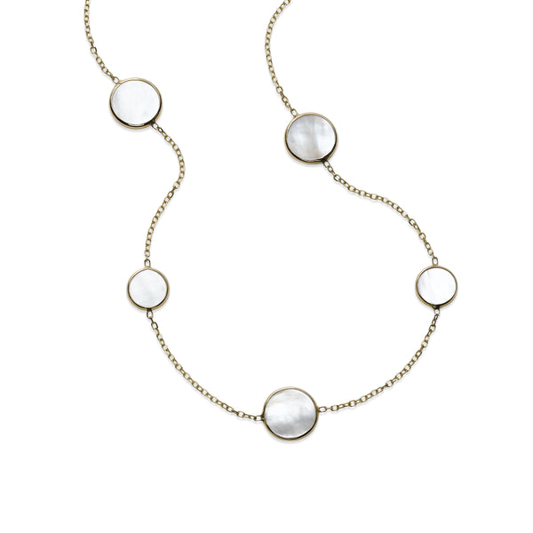 Bezel Set Mother of Pearl Station Necklace, 14K Yellow Gold