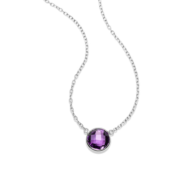 Bezel Set Round Amethyst Necklace, 14K White Gold