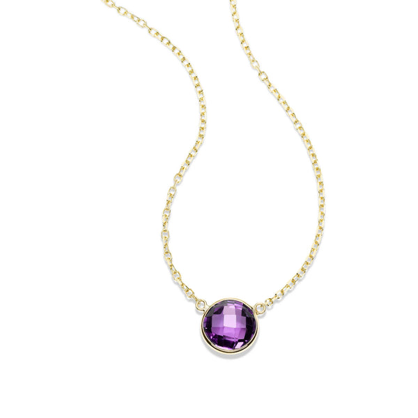 Bezel Set Round Amethyst Necklace, 14K Yellow Gold