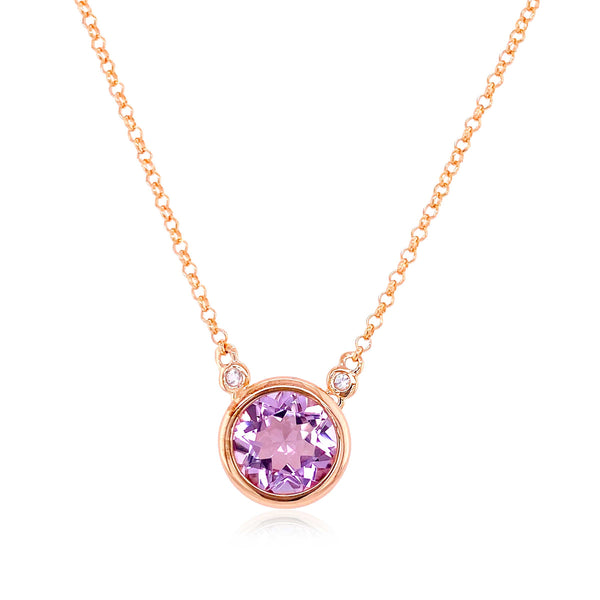 Bezel Set Round Amethyst Necklace, Sterling Silver and Rose Gold Plating