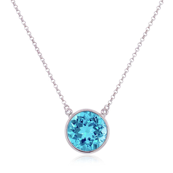 Round Blue Topaz Necklace, Sterling Silver and White Gold Plating