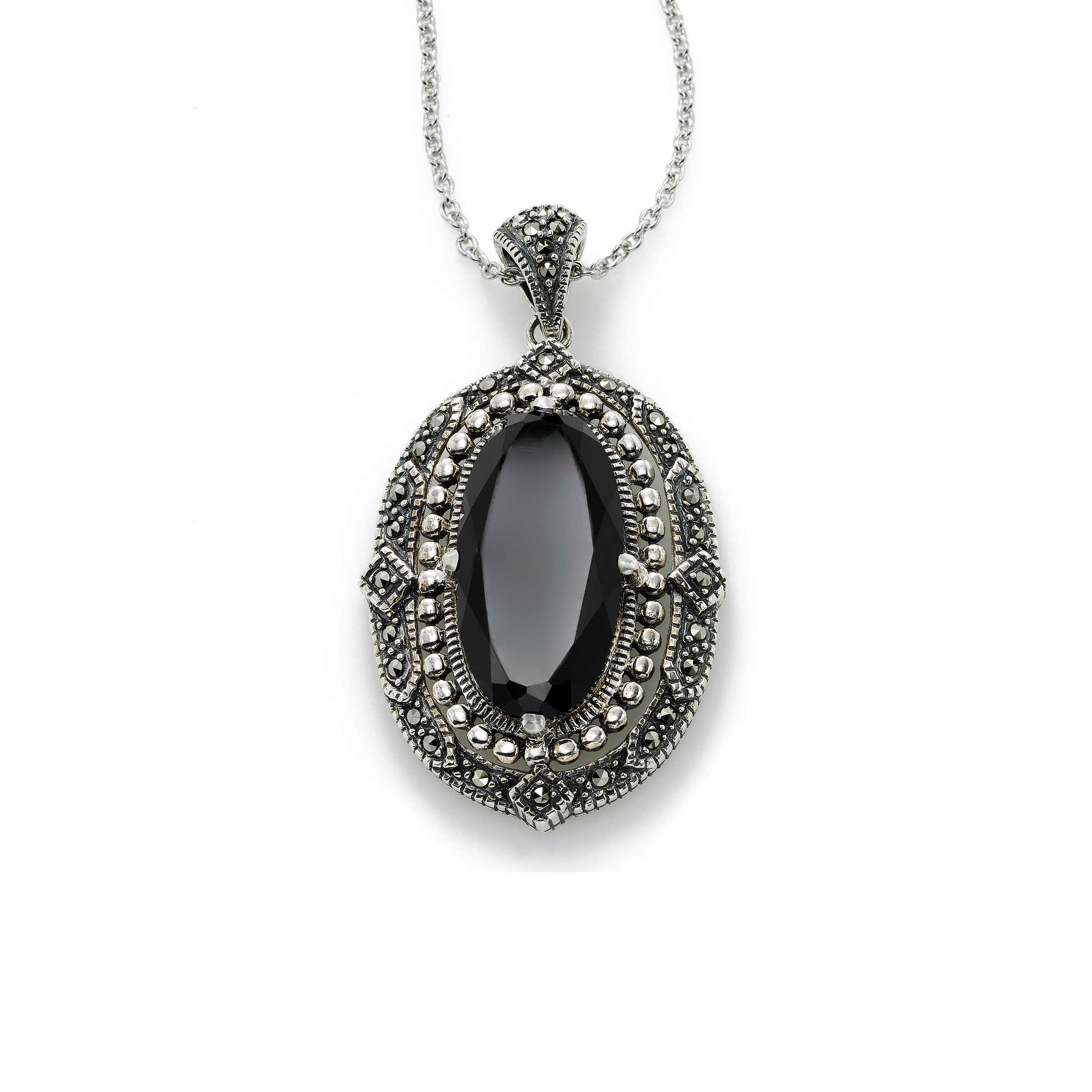 Black Onyx and Marcasite Pendant, Sterling Silver