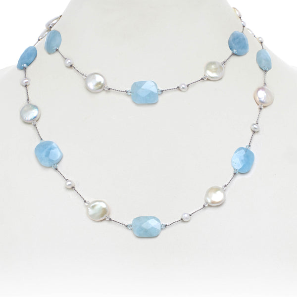 Faceted Aquamarine and White Coin Freshwater Pearl Necklace, 35 Inches