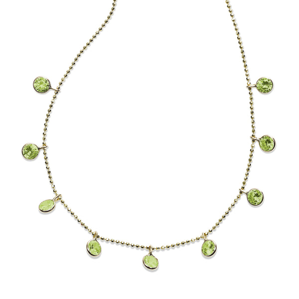 Bezel Set Peridot Drop Necklace, 18 Inches, 14K Yellow Gold