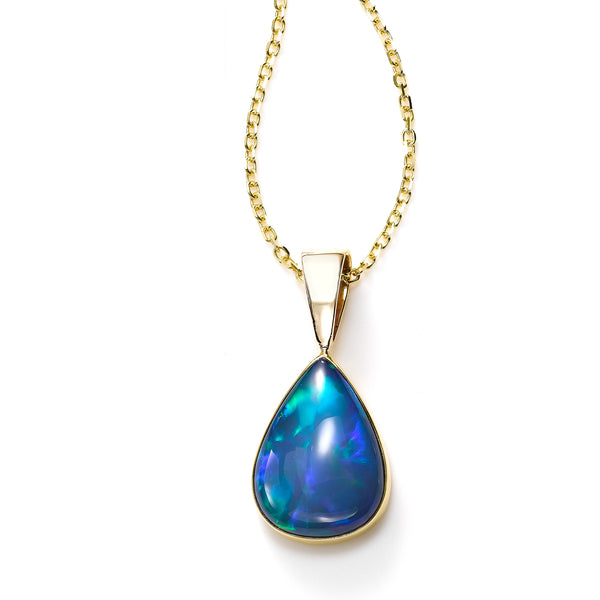 Pear Shaped Set Ethiopian Opal Pendant, 14K Yellow Gold