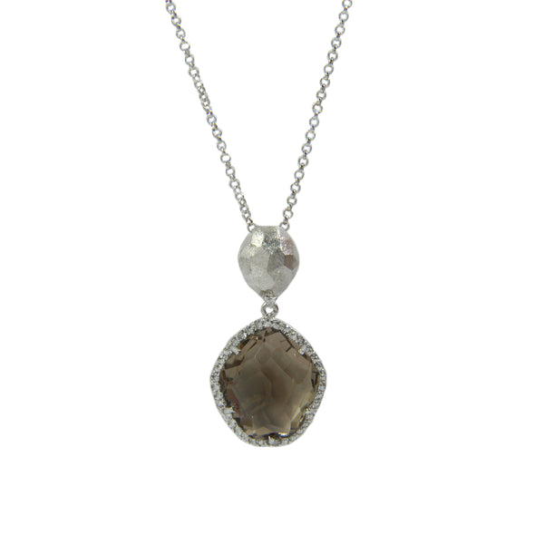 Freeform Smoky Quartz and White Topaz Pendant, Sterling Silver and Vermeil