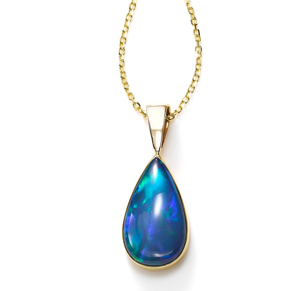 Large Pear Shaped Set Ethiopian Opal Pendant, 14K Yellow Gold