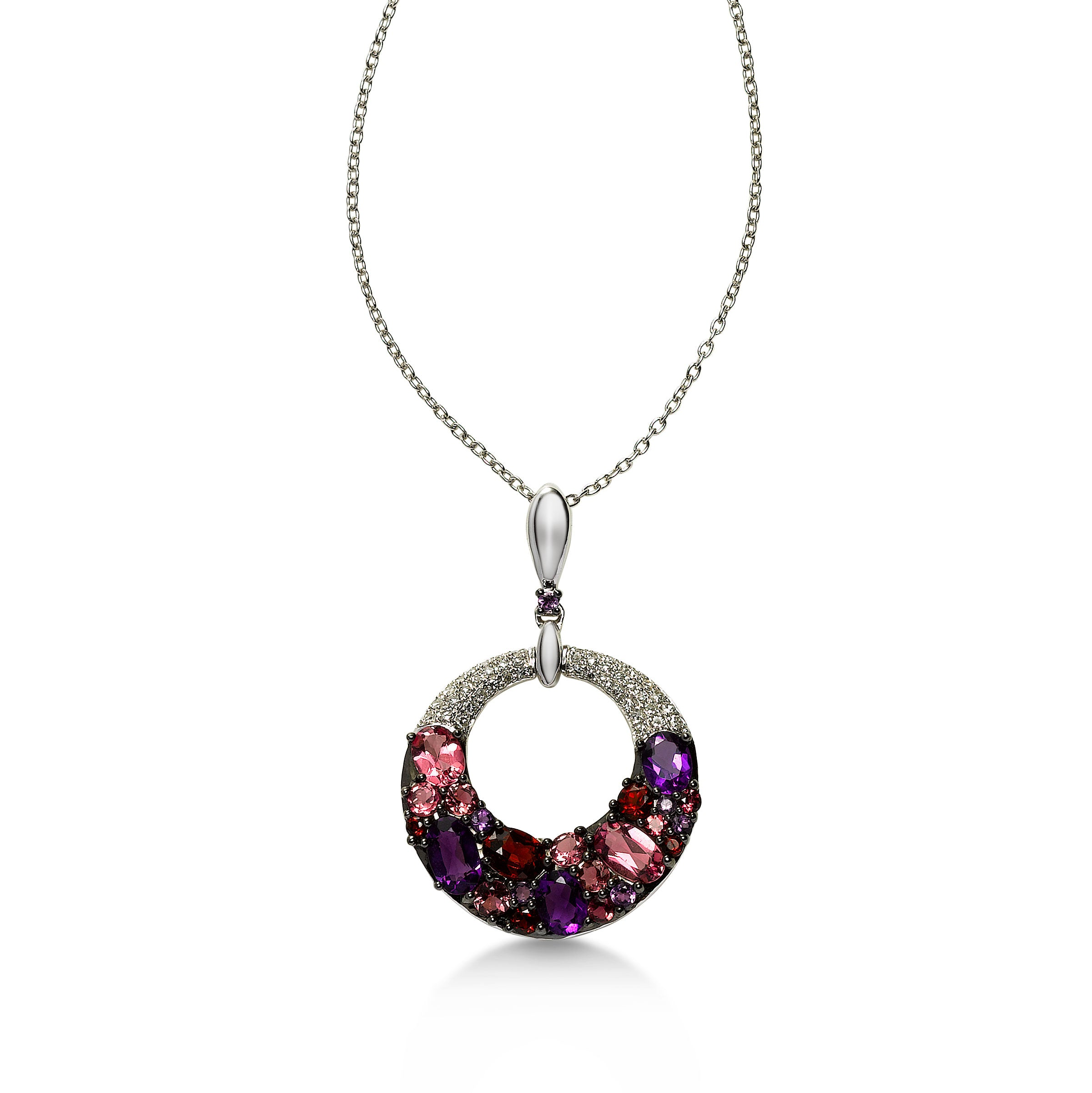 Multi Gemstone Pendant, 14K White Gold