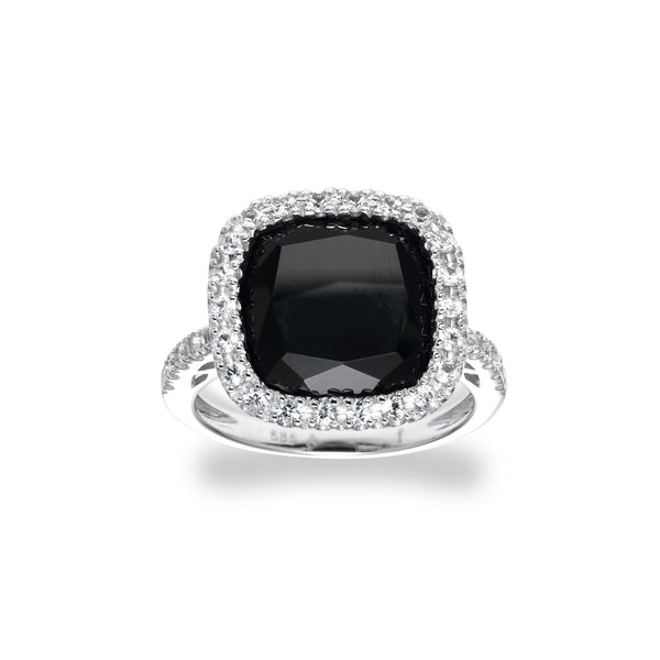 Black Onyx and White Sapphire Ring, 14K White Gold