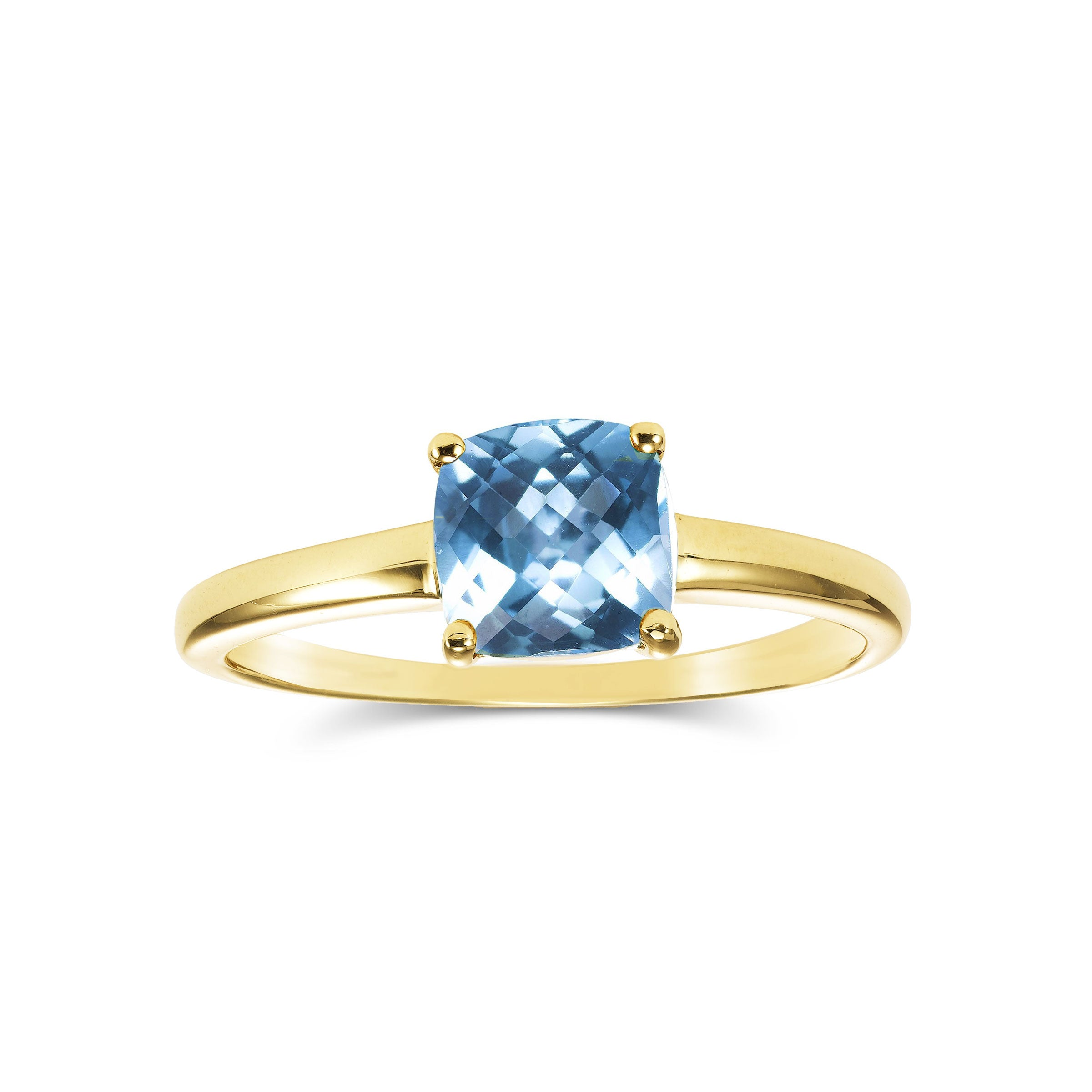 Cushion Cut Blue Topaz Ring, 14K Yellow Gold