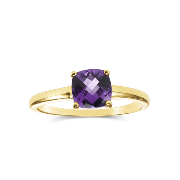 Cushion Cut Amethyst Ring, 14K Yellow Gold