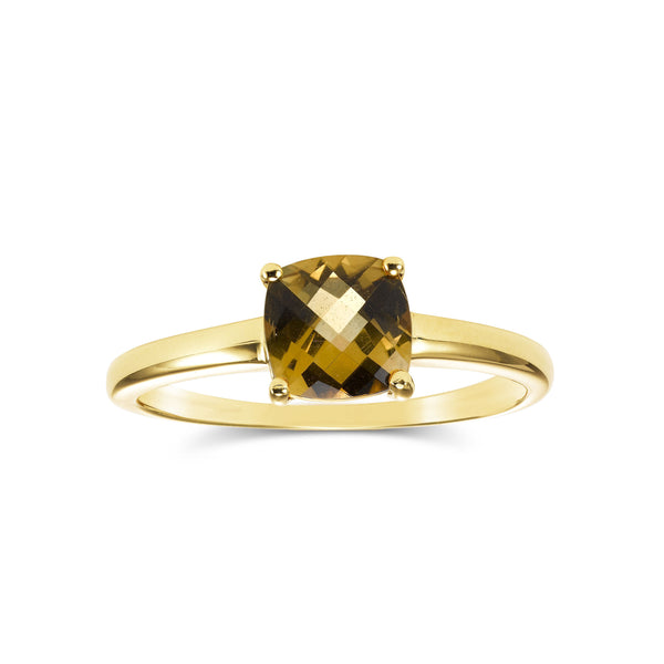 Cushion Cut Citrine Ring, 14K Yellow Gold