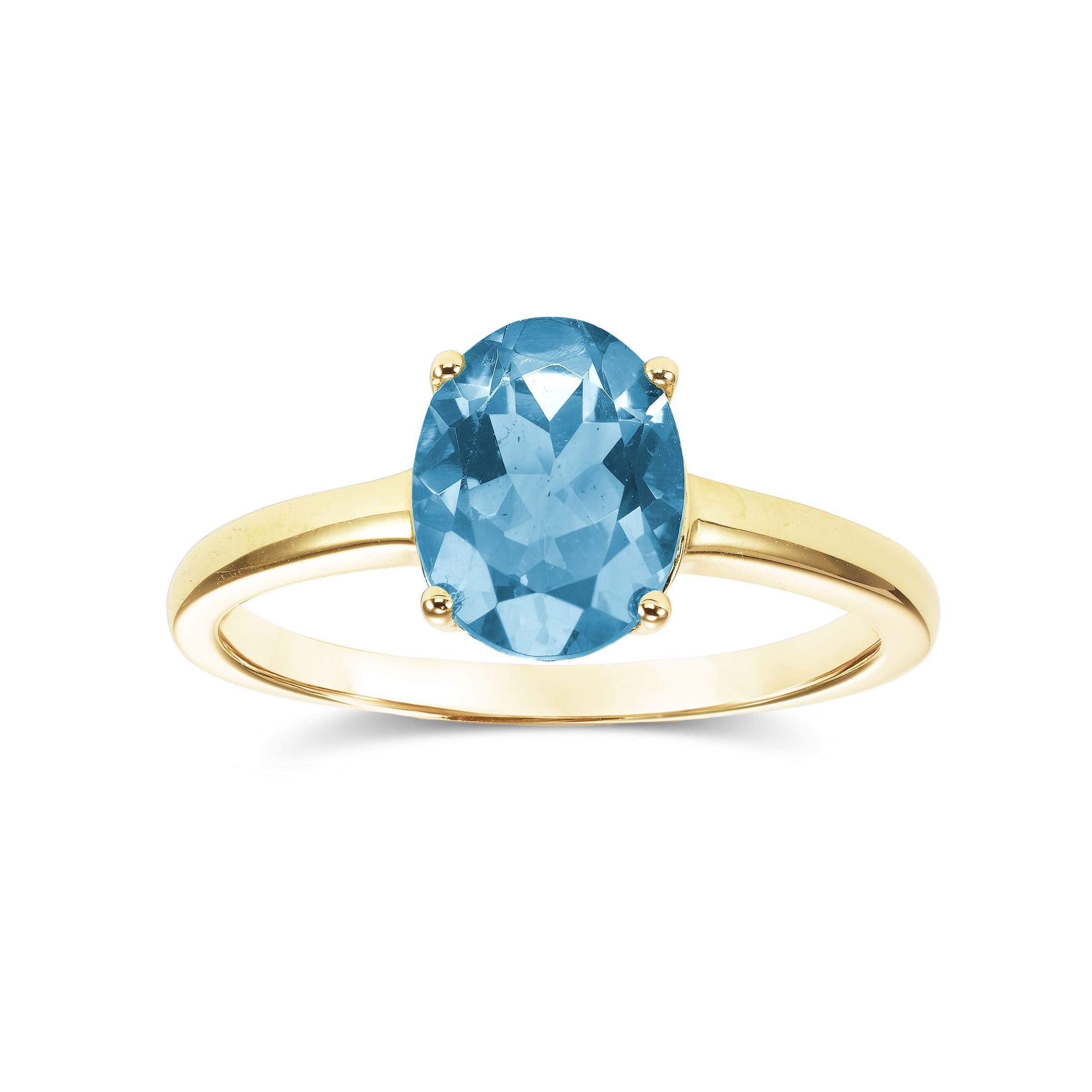 Oval Cut Blue Topaz Ring, 14K Yellow Gold