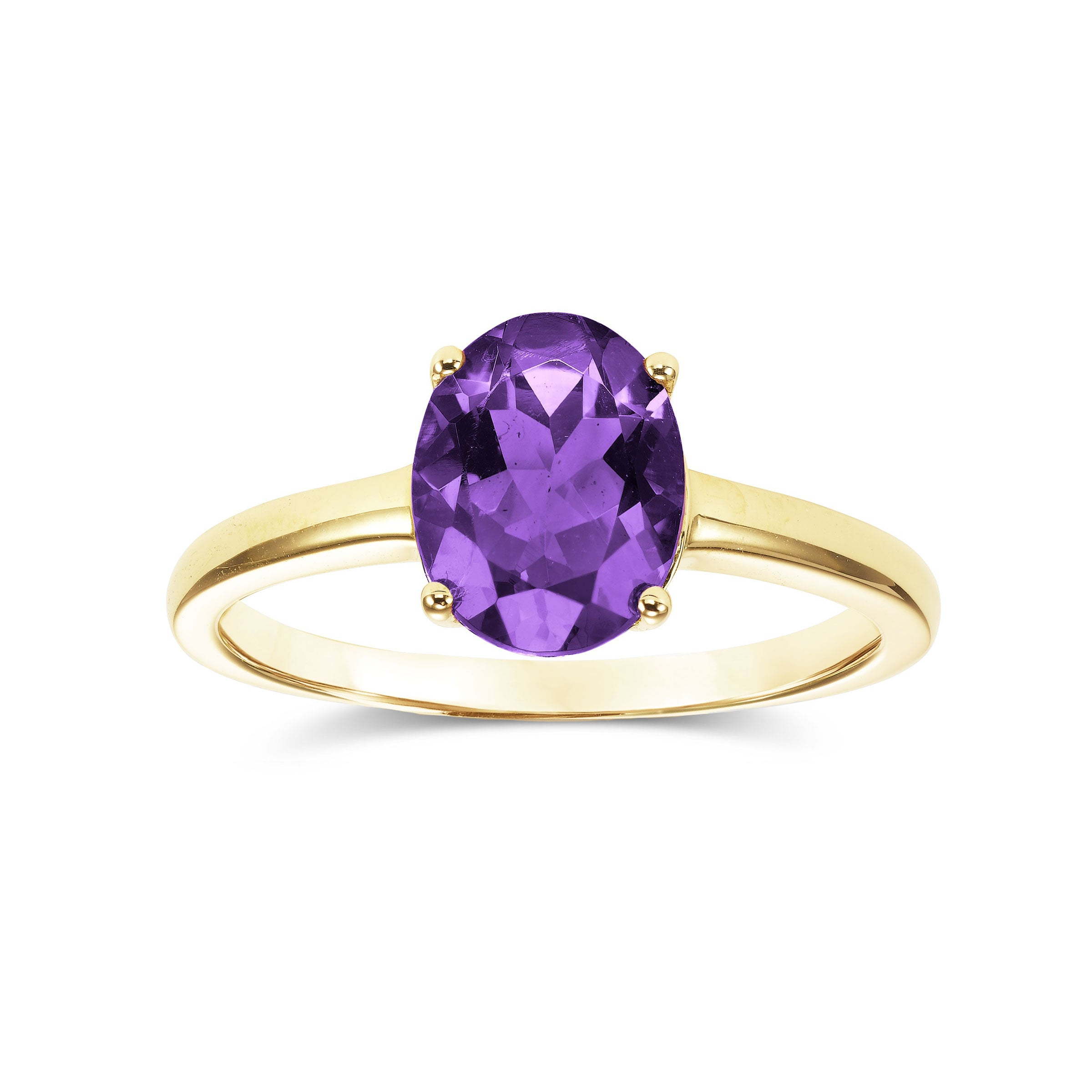 Oval Cut Amethyst Ring, 14K Yellow Gold