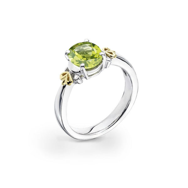 Oval Peridot Ring, Sterling Silver and 18K Yellow Gold
