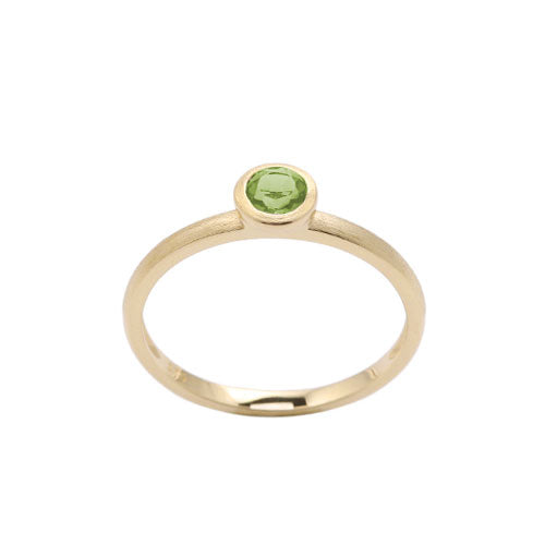Round Bezel Set Peridot Ring, 14K Yellow Gold
