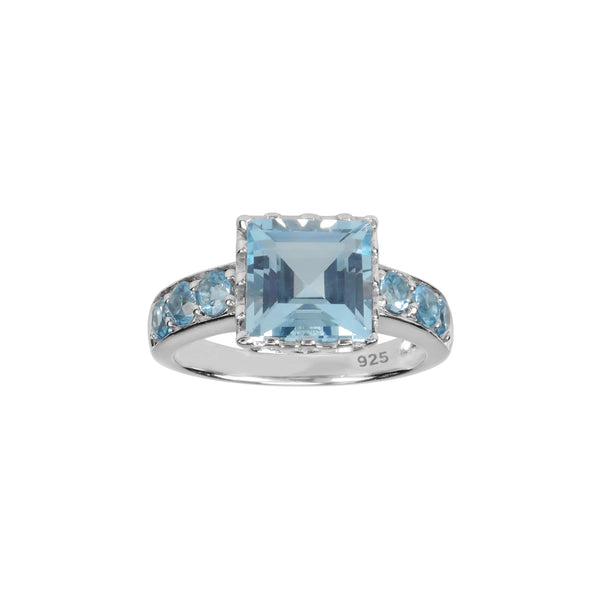 Square Cut Sky Blue Topaz Ring, Sterling Silver