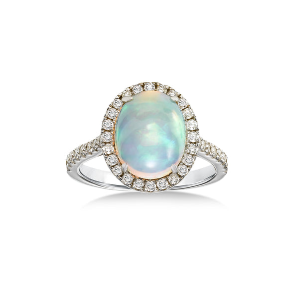 Oval Opal Cabochon and Diamond Halo Ring, 14K White Gold