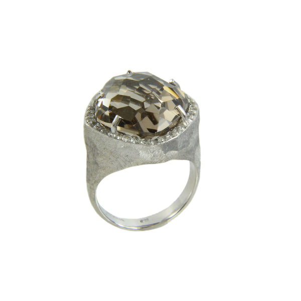 Freeform Smoky Quartz and White Topaz Ring, Sterling Silver and Vermeil