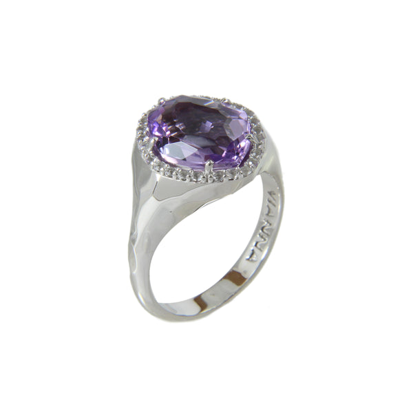 Freeform Amethyst and White Topaz Ring, Sterling Silver and Vermeil