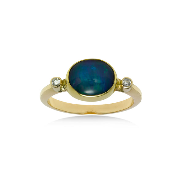 Bezel Set Ethiopian Opal Ring with Diamond Accents, 14K Yellow Gold