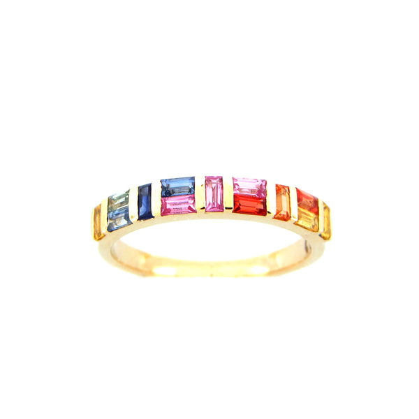 Rainbow Baguette Sapphires Ring, 14K Yellow Gold