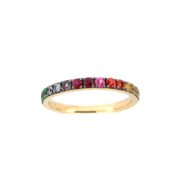 Rainbow Gemstone Halfway Band, 14K Yellow Gold