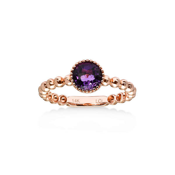 Bead Design Round Amethyst Ring, 14K Rose Gold