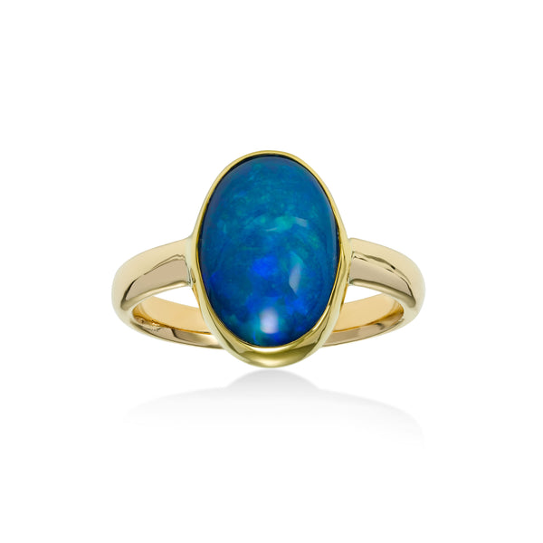 Oval Bezel Set Ethiopian Opal Ring, 14K Yellow Gold