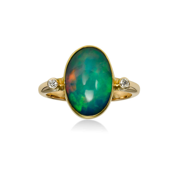 Oval Ethiopian Opal Ring with Diamond Accents, 14K Yellow Gold
