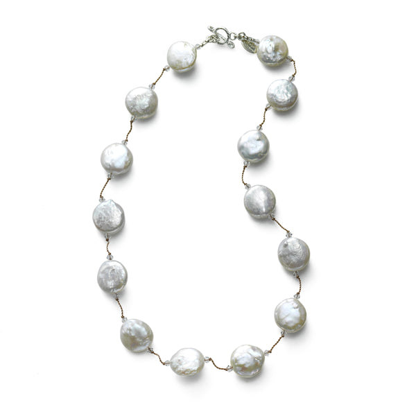 Freshwater Cultured Coin Pearl and Swarovski Crystal Necklace, Sterling Silver, by Margo Morrison