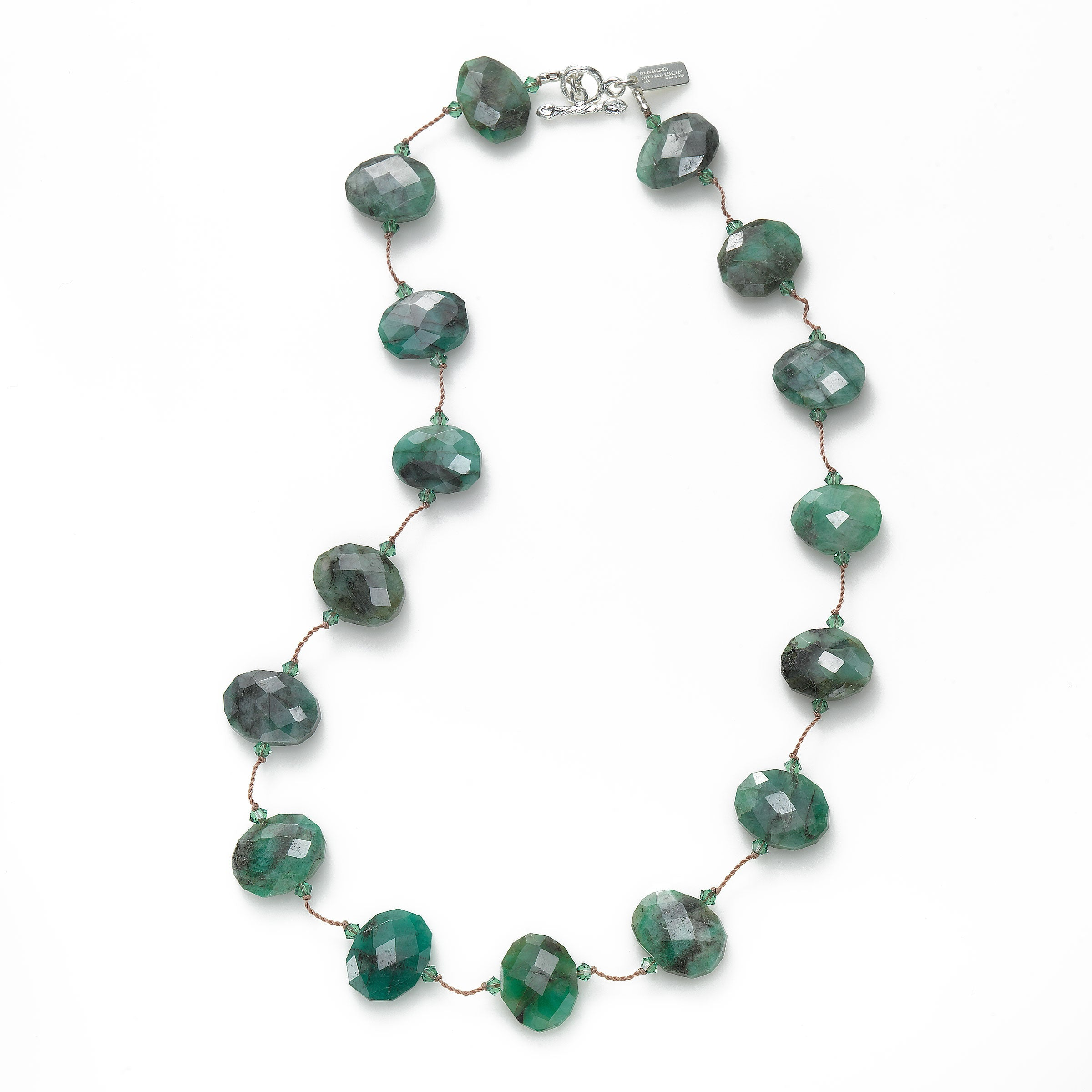 Raw Emerald and Swarovski Crystal Necklace, Sterling Silver, 17 Inch