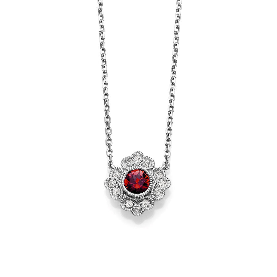 Vintage Style Ruby and Diamond Necklace, 14K White Gold