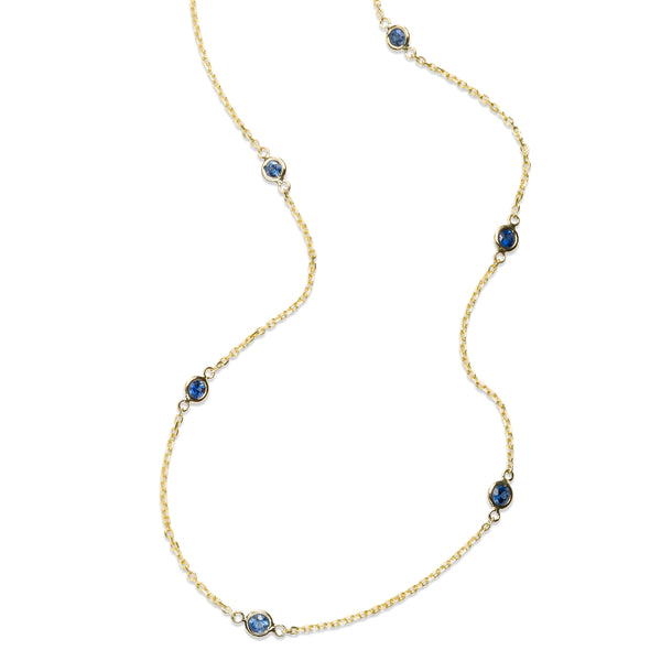 Bezel Set Blue Sapphire Station Necklace, 14K Yellow Gold