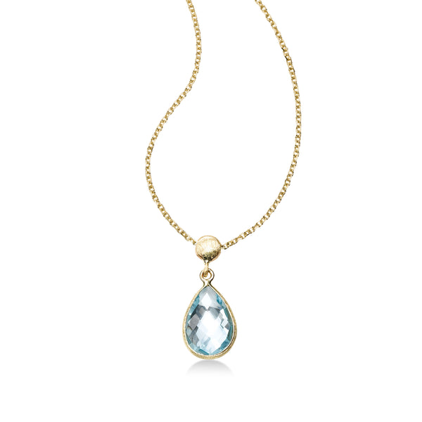 Bezel Set Pear Shape Blue Topaz Pendant, 14K Yellow Gold