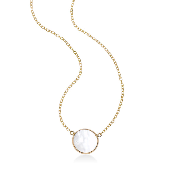 Bezel Set Mother of Pearl Center Necklace, 14K Yellow Gold