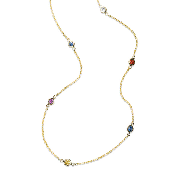Multi Gemstone Station Necklace, 14K Yellow Gold