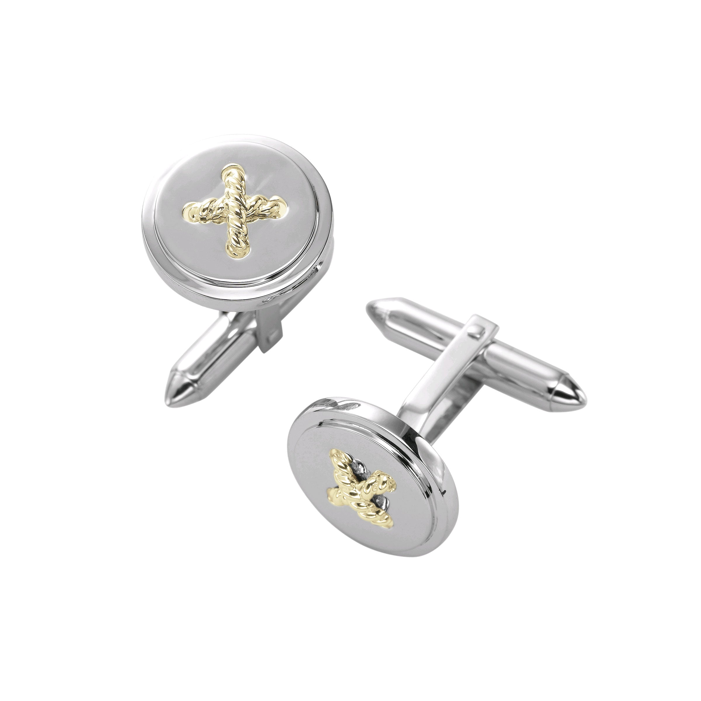 Rope Stitch Design Cufflinks, Sterling Silver and 14K Yellow Gold